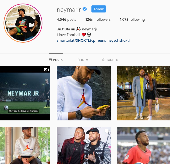 neymar jr instagram account